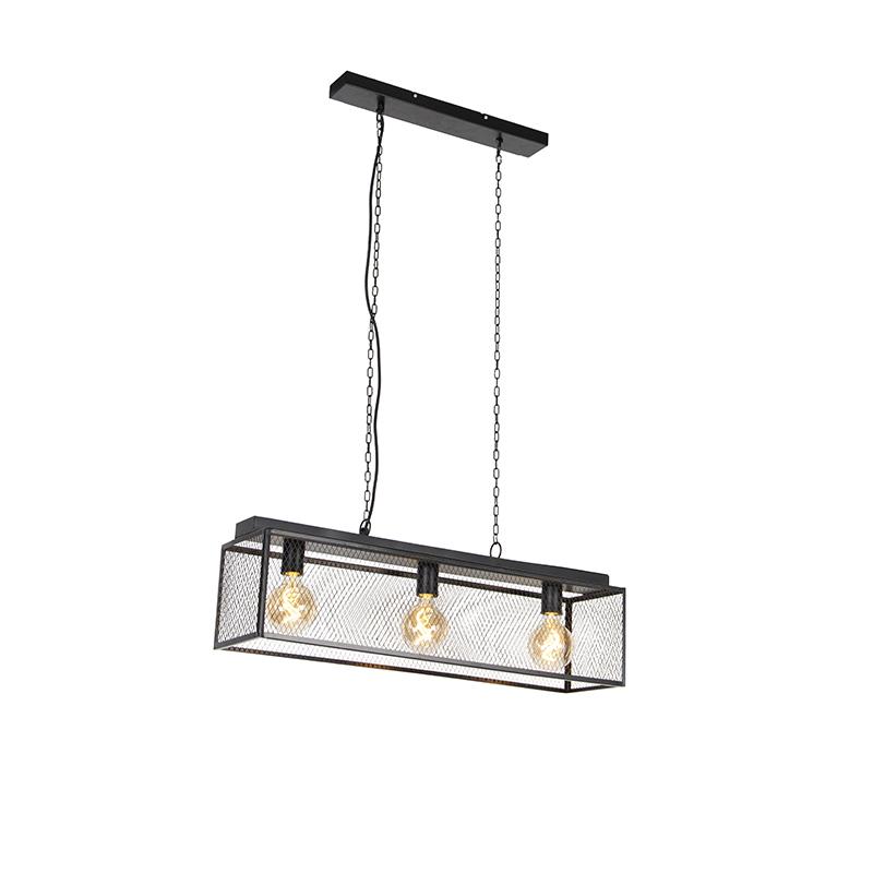 Industriële hanglamp zwart 3-lichts - Cage Robusto
