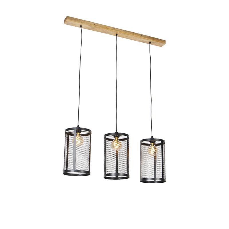 Industriële hanglamp zwart met hout 3-lichts - Cage Robusto