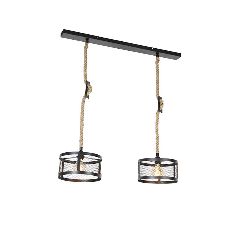 Industriële hanglamp zwart met touw 2-lichts - Cage Robusto