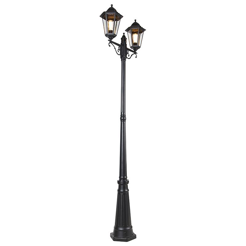 Buitenlantaarn glanzend zwart IP44 paal 2-lichts - New Orleans