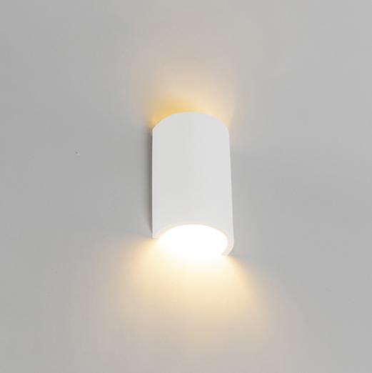 Landelijke ronde wandlamp gips - Colja Novo