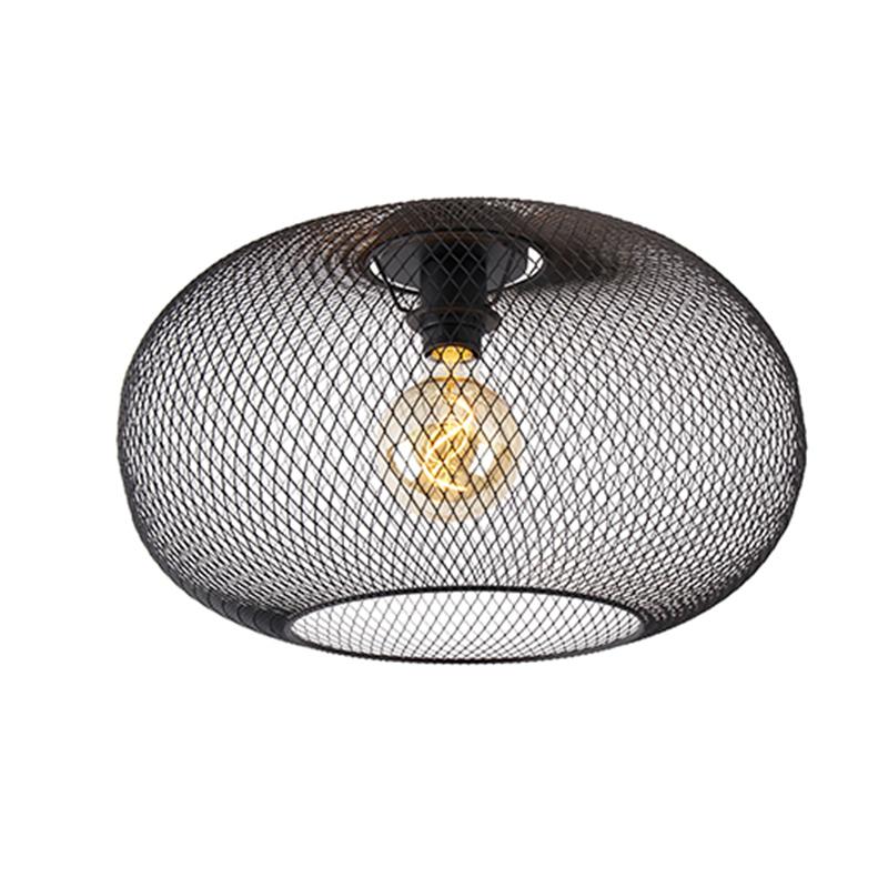 Moderne plafondlamp zwart 45 cm - Mesh Ball