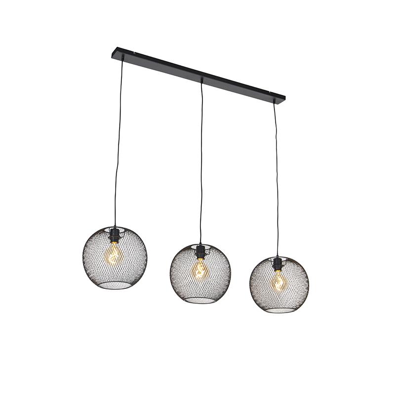 Moderne hanglamp zwart 3-lichts - Mesh Ball