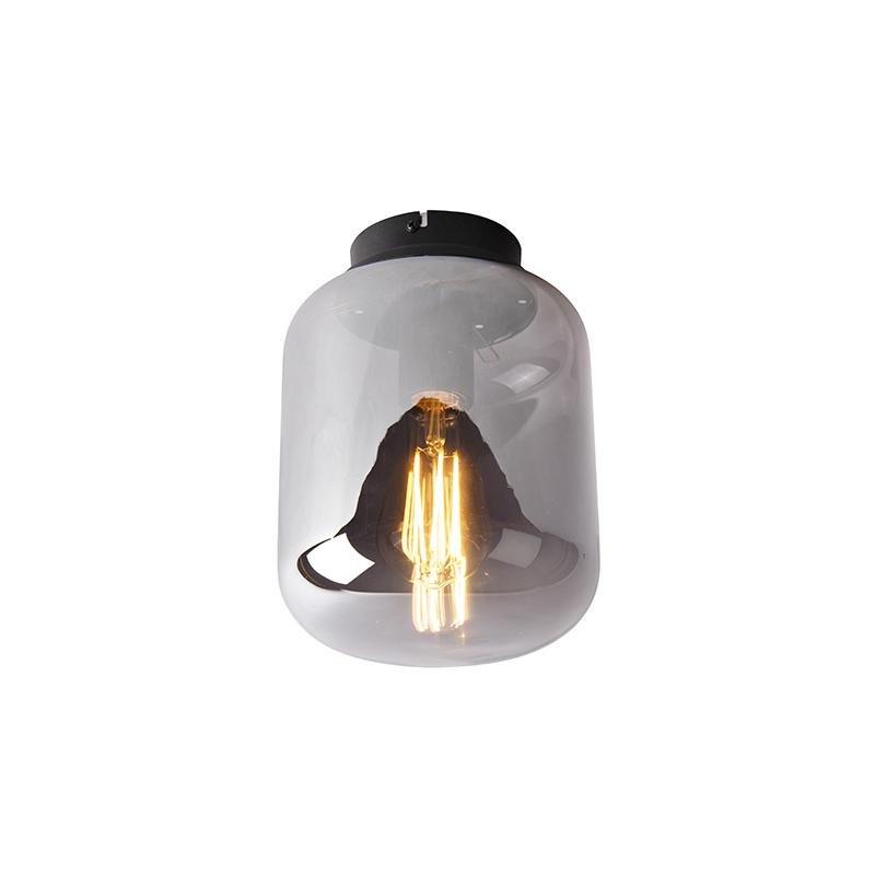 Design plafondlamp zwart met smoke glas - Bliss