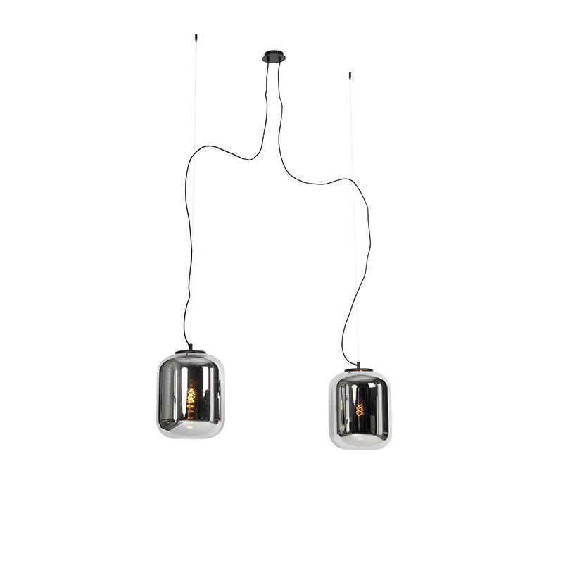 Design hanglamp zwart met smoke glas 2-lichts - Bliss