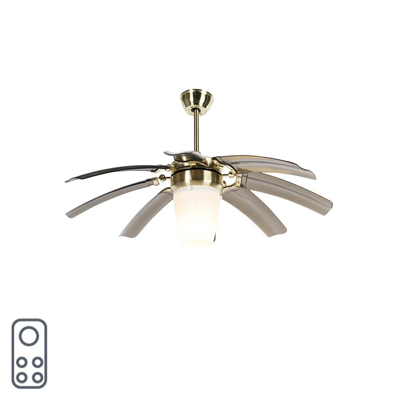 Plafondventilator messing met afstandsbediening - Wings 42