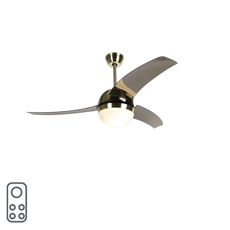 Plafondventilator messing met smoke bladen - Bora 52