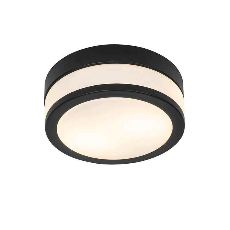 Klassieke ronde plafondlamp zwart 23 cm - Flavi