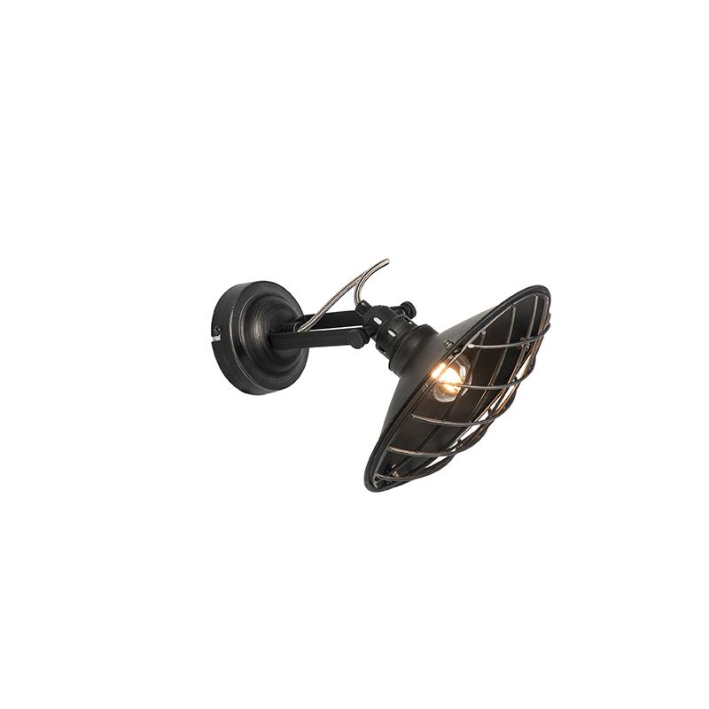 Industriële wandlamp zwart kantelbaar - Pekka