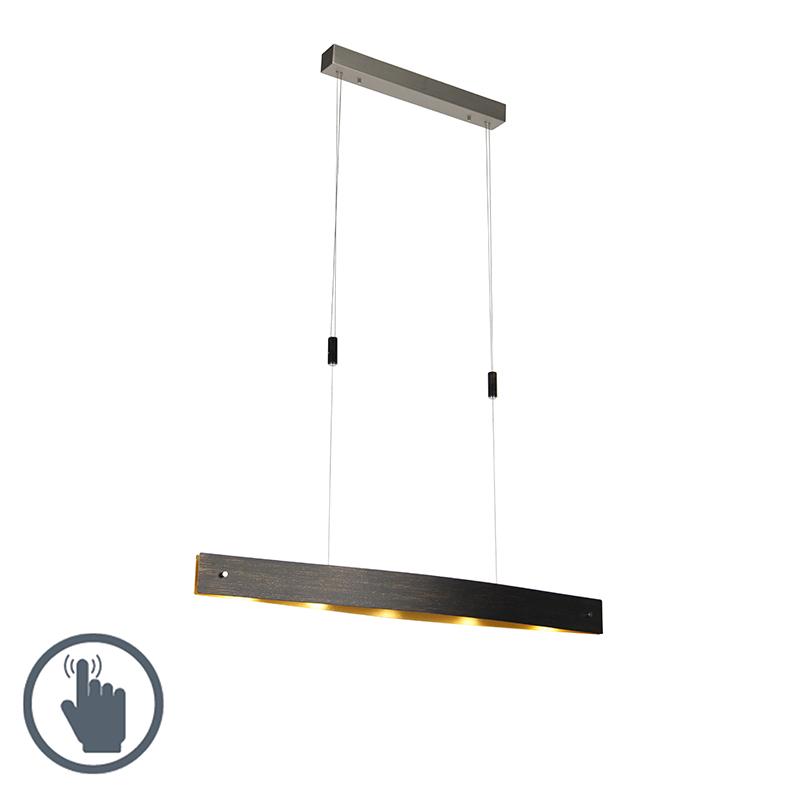 Moderne ovale hanglamp zwart met goud incl. LED en dimmer - Lio