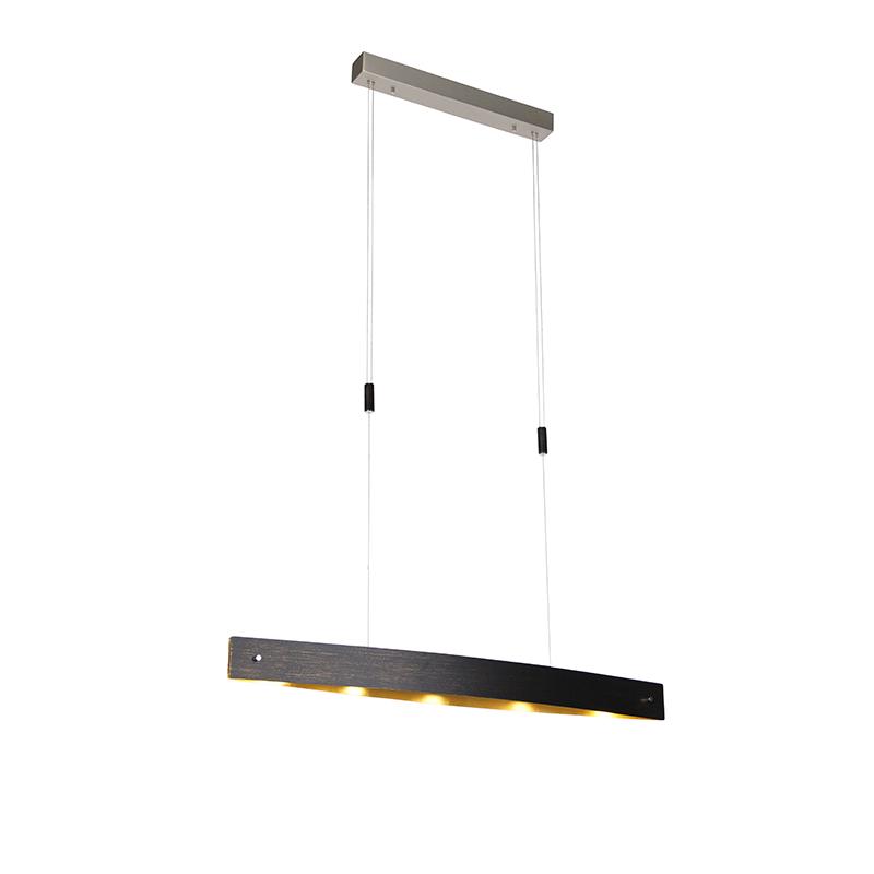 Moderne hanglamp zwart met goud incl. LED en touchdimmer - Lio