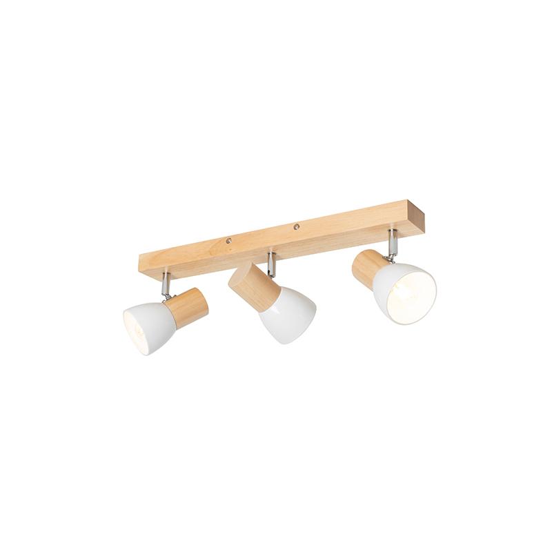Plafondspot hout met wit 3-lichts verstelbaar - Thorin