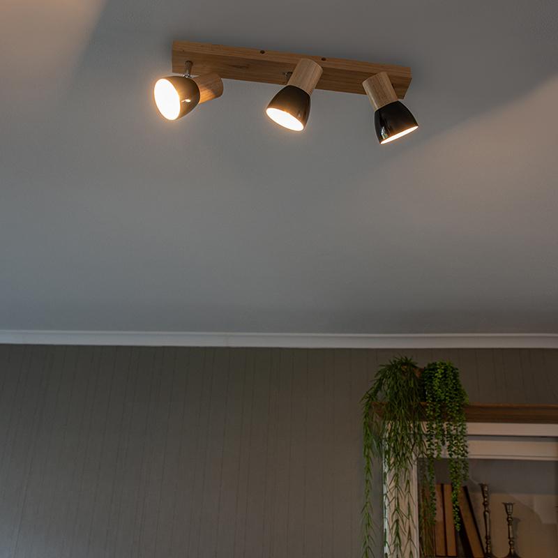 Plafondspot hout met zwart 3-lichts verstelbaar - Thorin