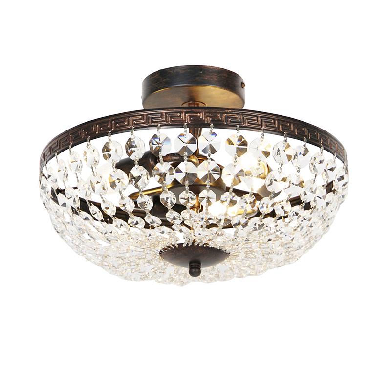 Klassieke plafondlamp goud met kristal 3-lichts - Mondrian