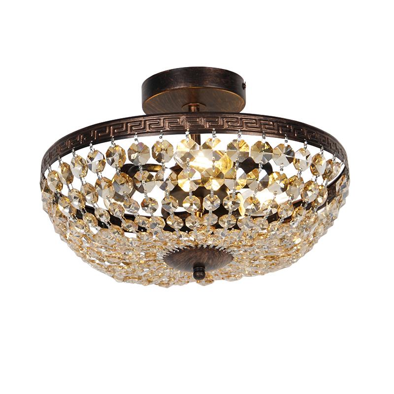 Klassieke plafondlamp brons met beige kristal 3-lichts - Mondrian
