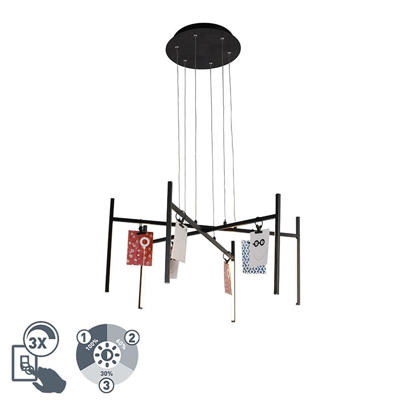 Design hanglamp zwart 3-staps dimbaar 6-lichts - Kroon