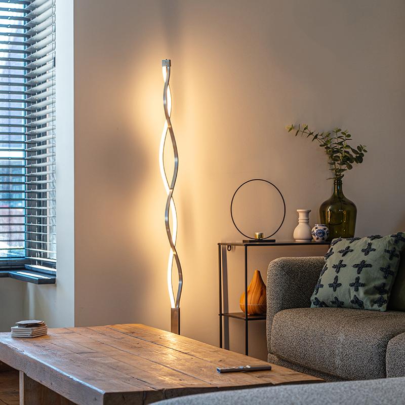 Design vloerlamp aluminium incl. LED en dimmer - Auron