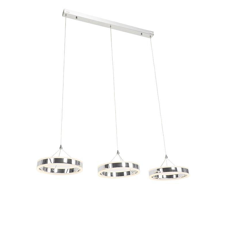 Hanglamp chroom incl. LED 3-staps dimbaar 3-lichts - Lyani
