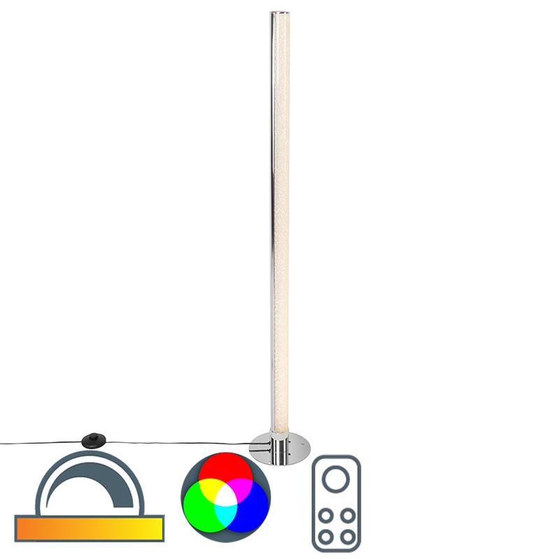 Vloerlamp staal incl. LED en dimmer met afstandbediening - Hadisq