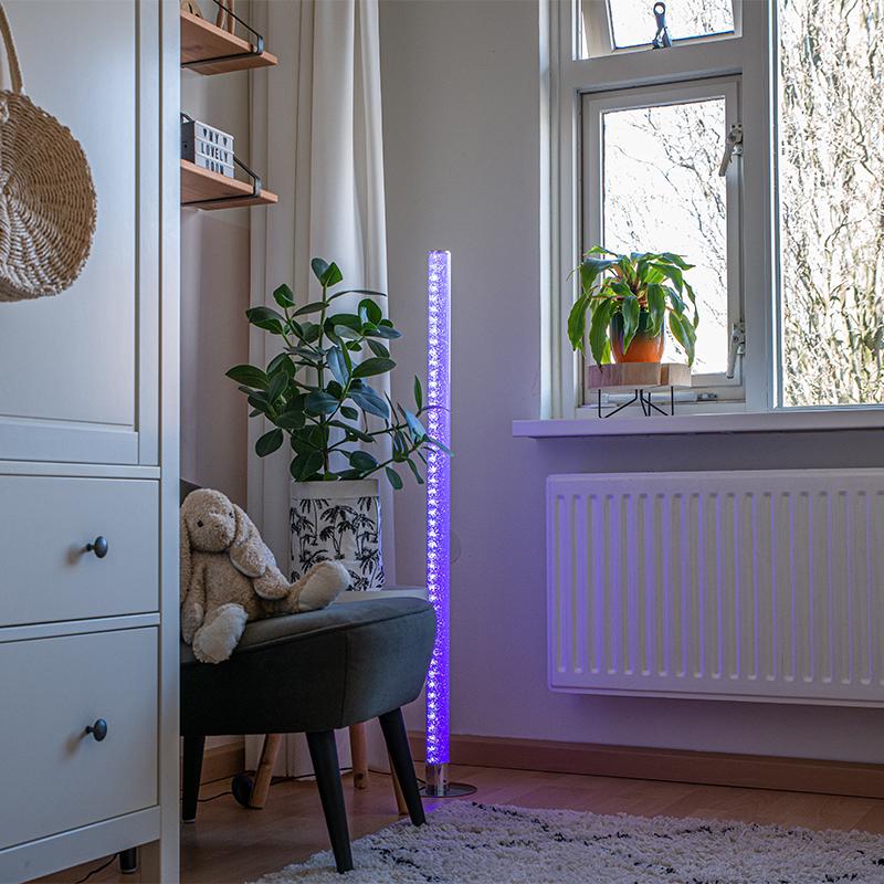Vloerlamp staal incl. dimmer met afstandsbediening - Hadisq