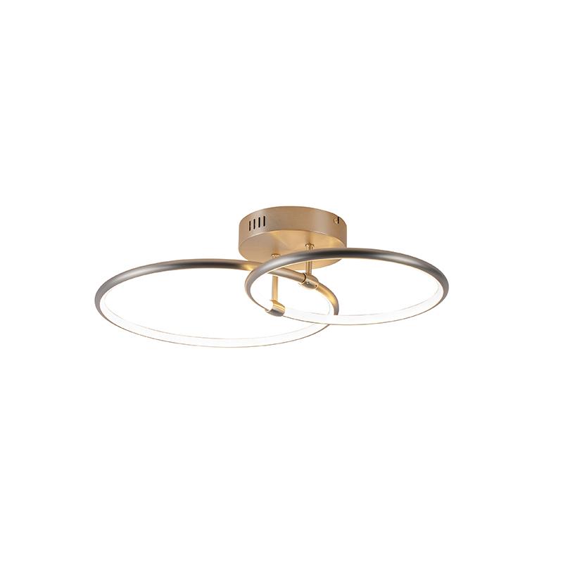 Design plafondlamp staal incl. LED 3-staps dimbaar 2-lichts - Joaniqa