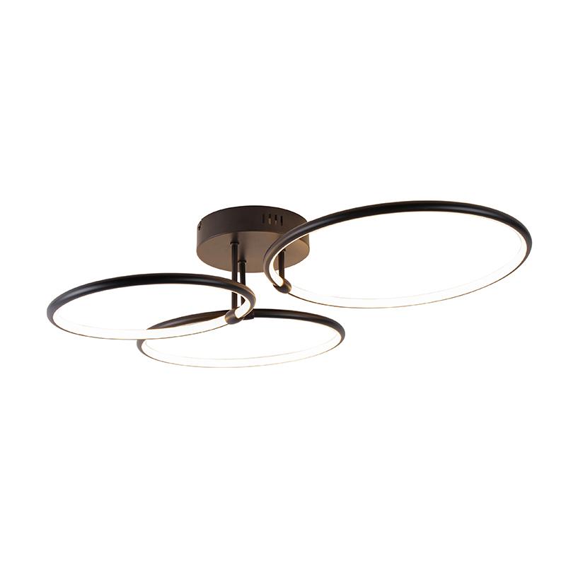 Design plafondlamp zwart incl. LED 3-staps dimbaar 3-lichts - Joaniqa