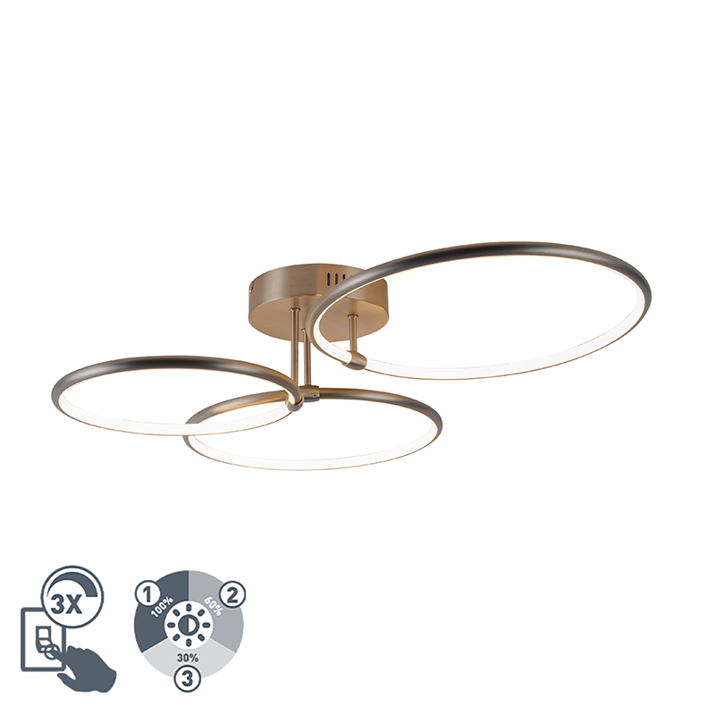 Plafondlamp staal incl. LED 3-staps dimbaar 3-lichts - Joaniqa