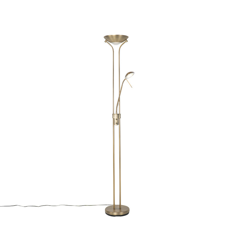 Moderne vloerlamp brons met leeslamp incl. LED dim to warm - Diva