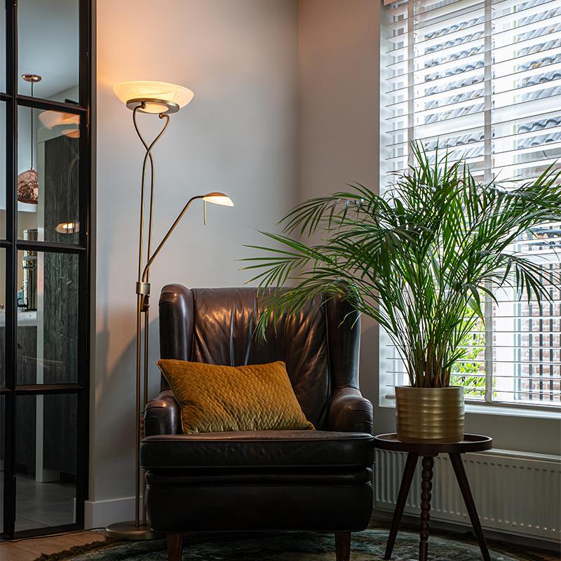 Vloerlamp brons incl. LED en dimmer met leeslamp - Empoli