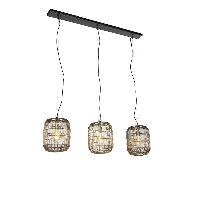 Moderne hanglamp messing 3-lichts - Redo