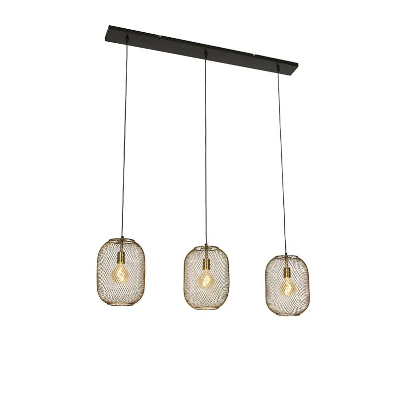 Moderne hanglamp messing en zwart 3-lichts - Waya Mesh