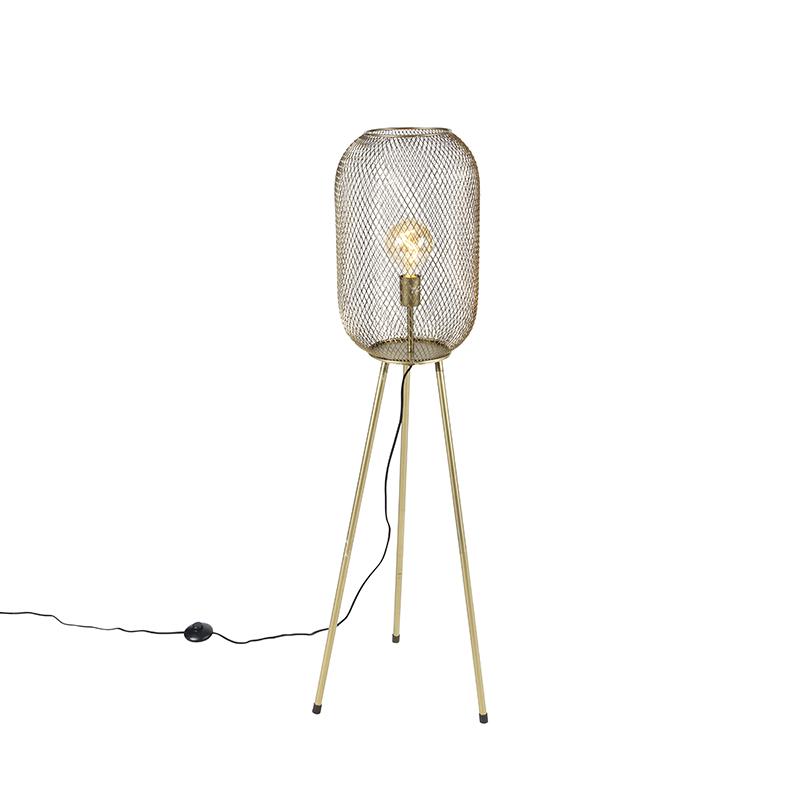 Moderne vloerlamp tripod messing - Waya Mesh