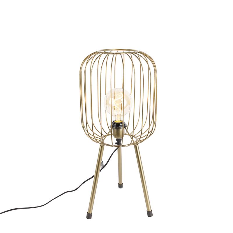 Moderne tafellamp tripod messing - Wire