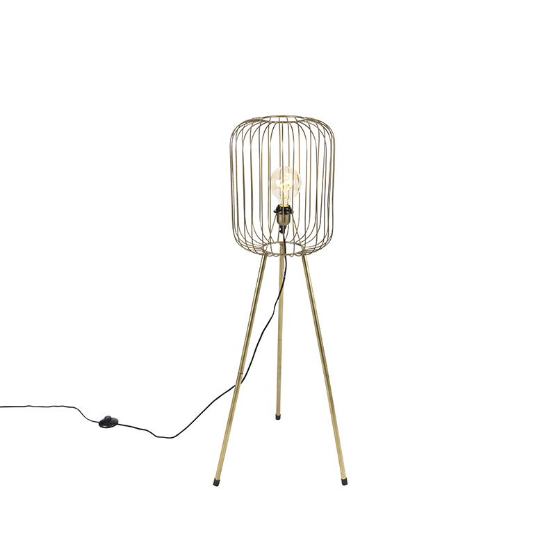 Moderne vloerlamp tripod messing - Wire