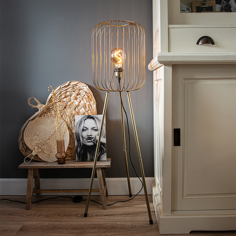 Moderne vloerlamp messing tripod - Wire