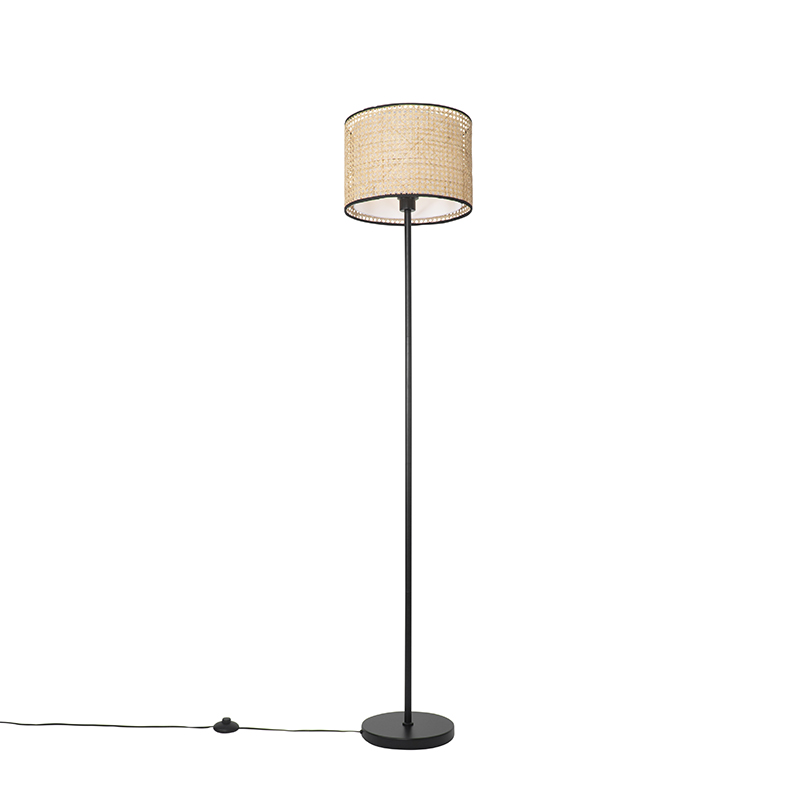 Landelijke vloerlamp zwart met rotan kap - Kata