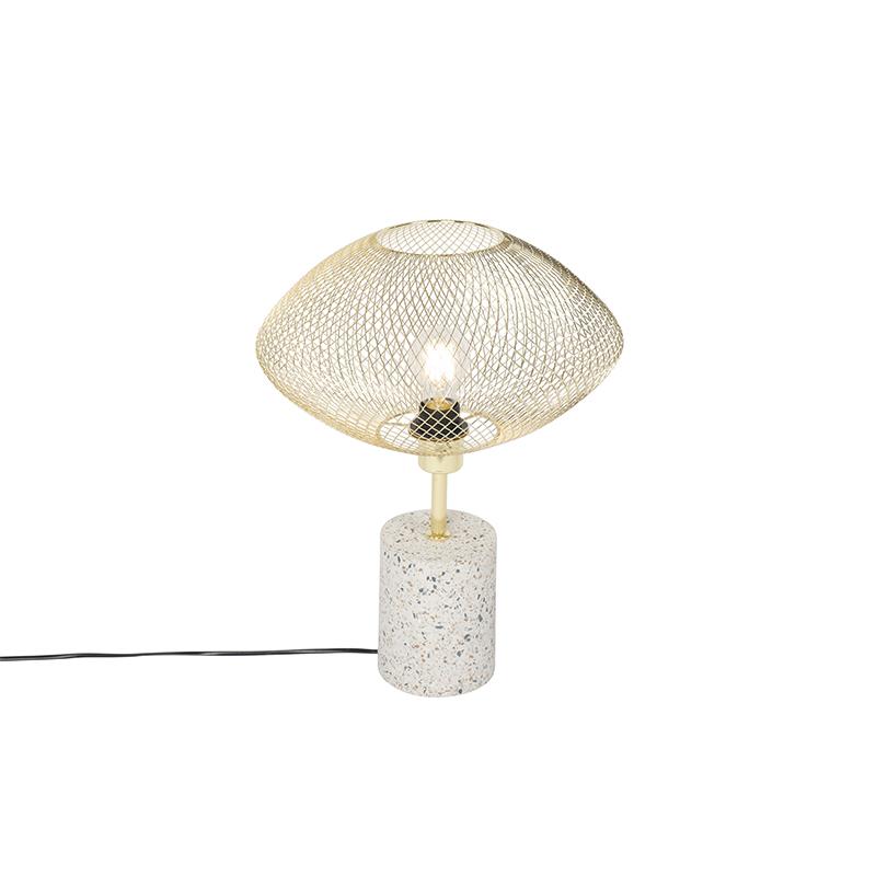 Design tafellamp wit met messing - Ella