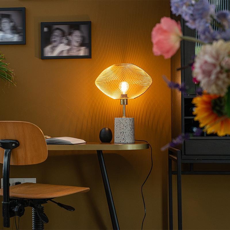 Design tafellamp terrazzo met messing - Ella
