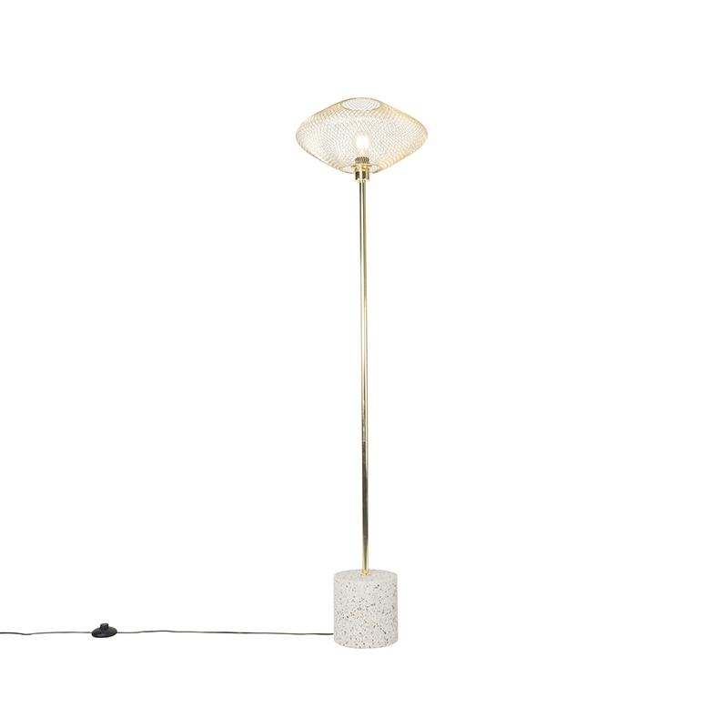 Design vloerlamp terrazzo met messing - Ella