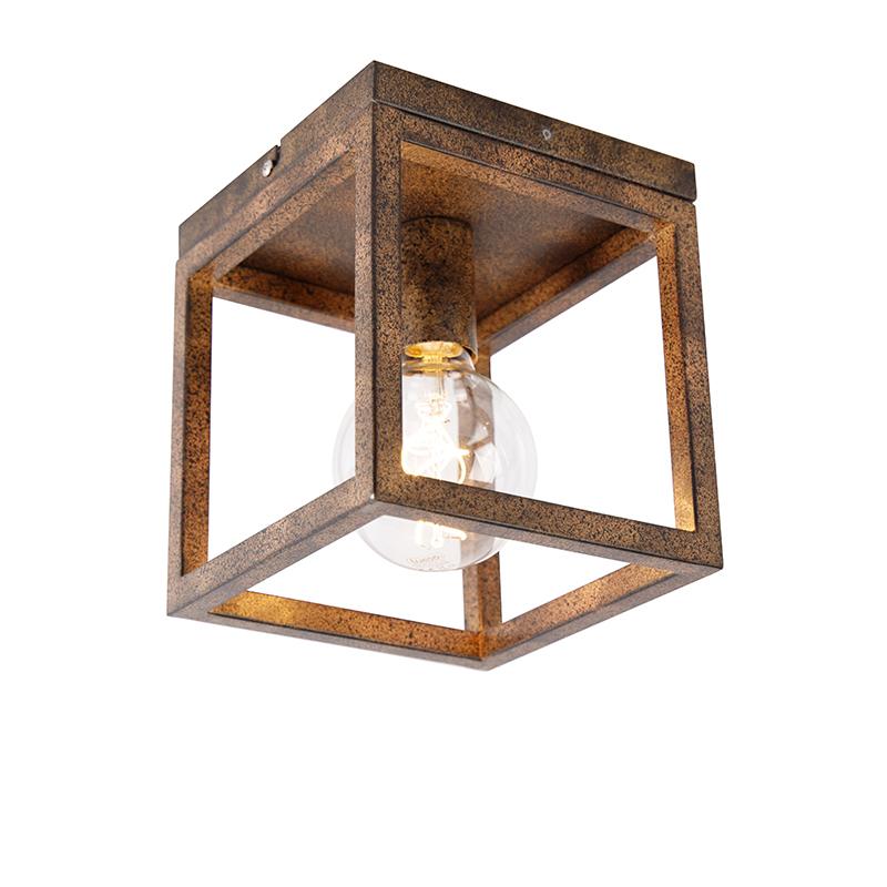 Industriële plafondlamp roestbruin - Cage