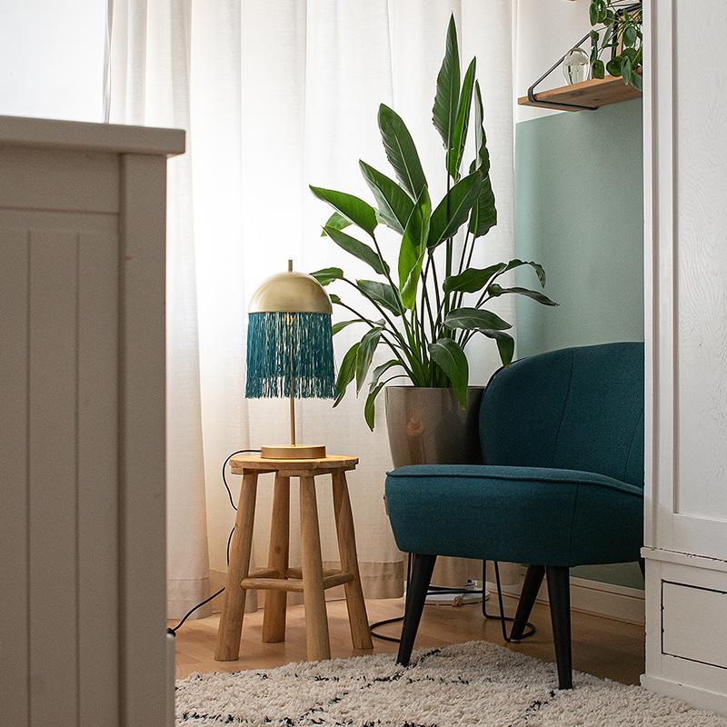 Oosterse tafellamp goud met groene franjes - Fringle