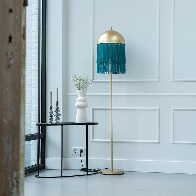 Oosterse vloerlamp goud met groene franjes 30 cm - Fringle