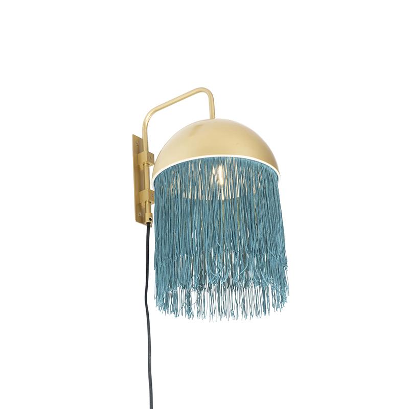 Oosterse wandlamp goud met groene franjes - Fringle