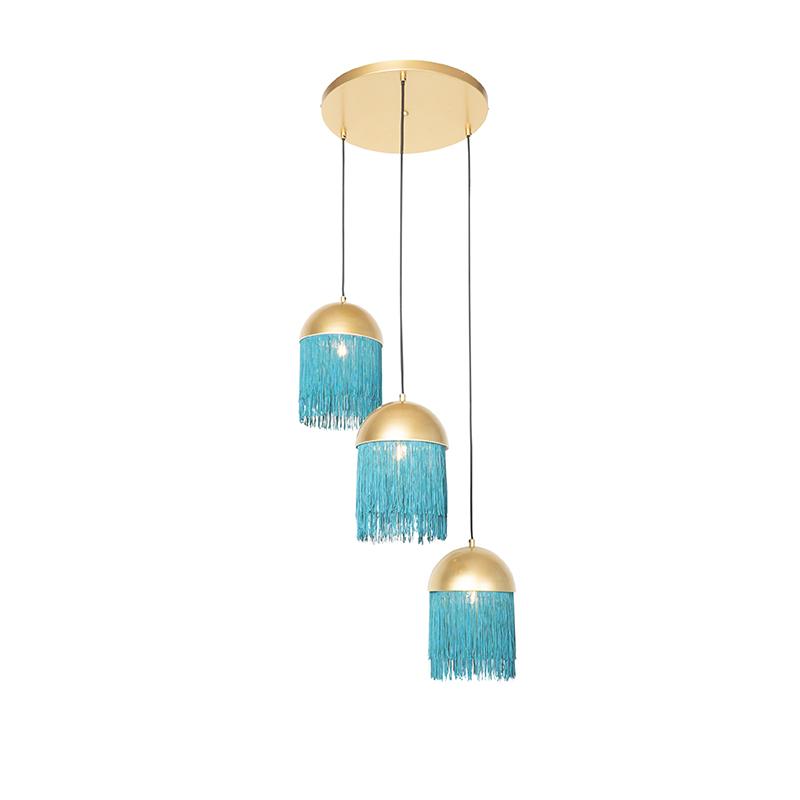 Oosterse hanglamp goud met groene franjes 3-lichts - Fringle