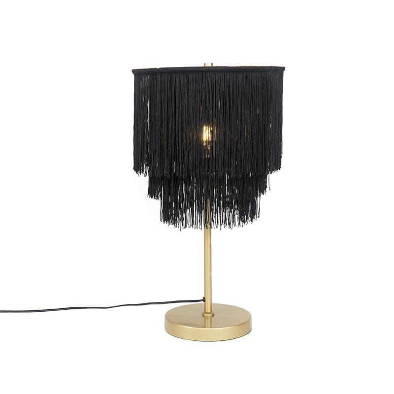 Orientalna lampa stołowa złoto-czarny klosz z frędzlami - Franxa