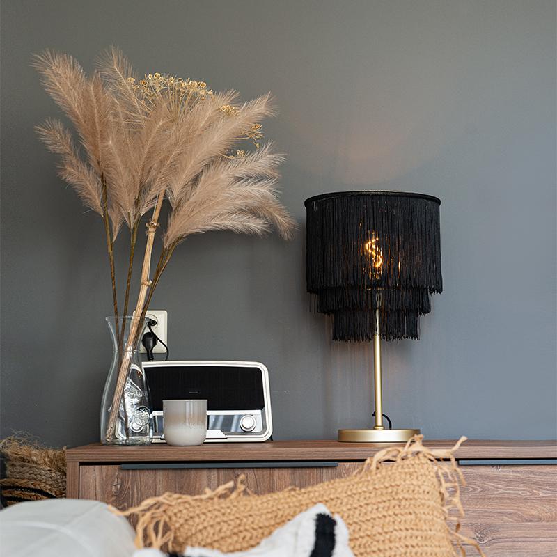 Oosterse tafellamp goud zwarte kap met franjes - Franxa