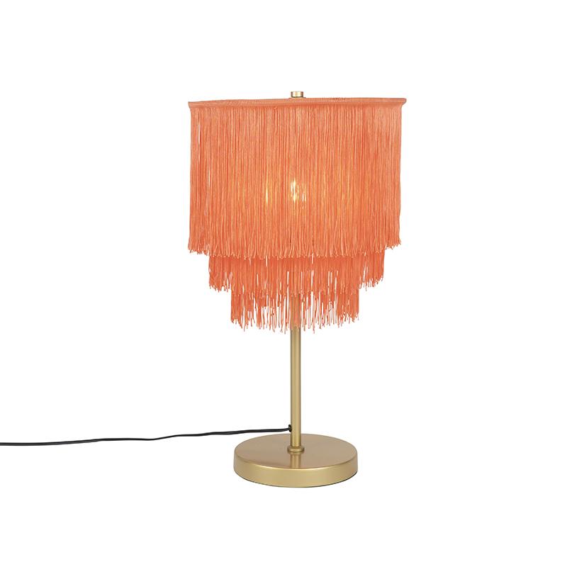 Oosterse tafellamp goud roze kap met franjes - Franxa