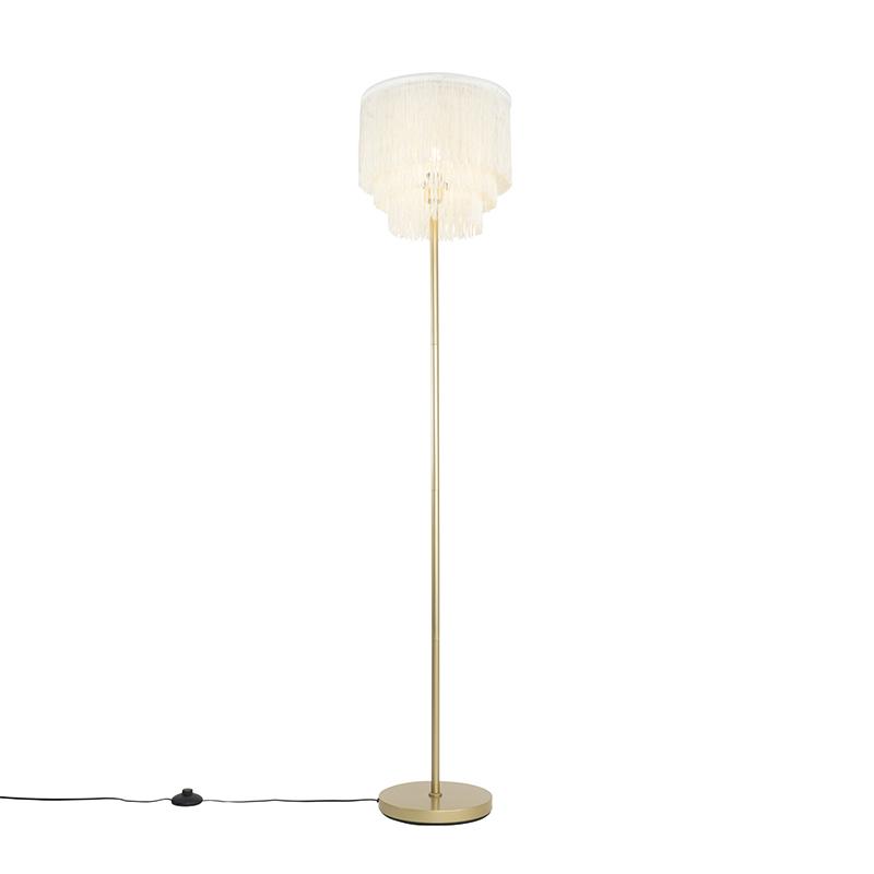 Oosterse vloerlamp goud cr�me kap met franjes - Franxa