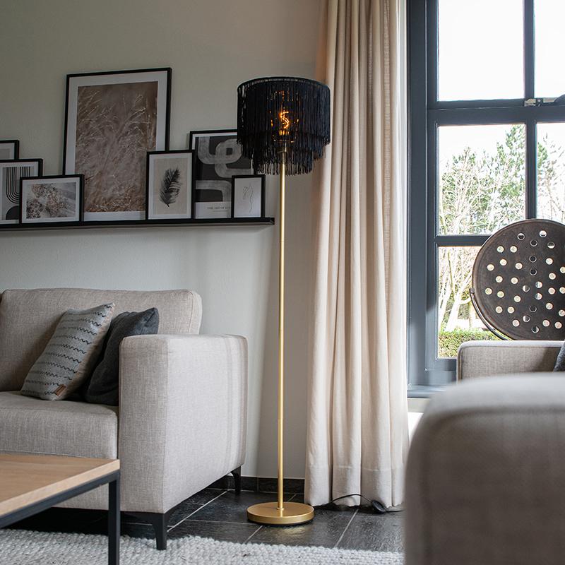 Oosterse vloerlamp goud zwarte kap met franjes - Franxa