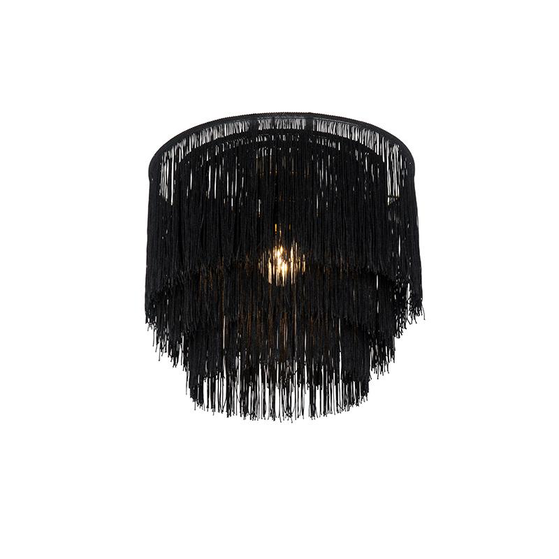 Oosterse plafondlamp goud zwarte kap met franjes - Franxa